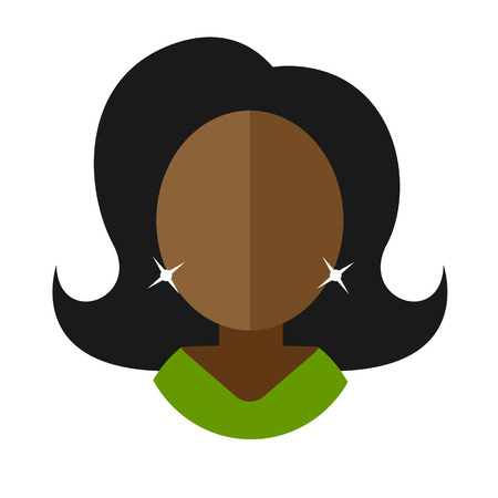 green dress: African-American woman flat icon movie star in a green dress avatar