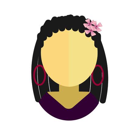 dreadlocks: Asian woman flat icon with dreadlocks in a lavender dress avatar