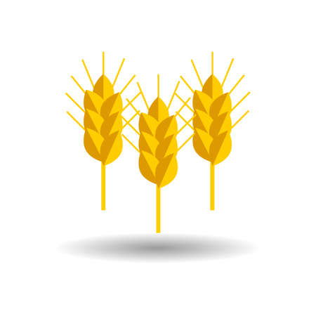 wheat flour: spike wheat vector icon set on white background with shadow