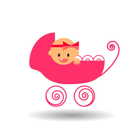 baby girl: baby girl smiling in the stroller flat vector icon on white background with shadow