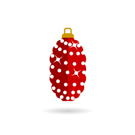 pinecone: sparkling red Christmas toy flat vector icon on white background with shadow Illustration