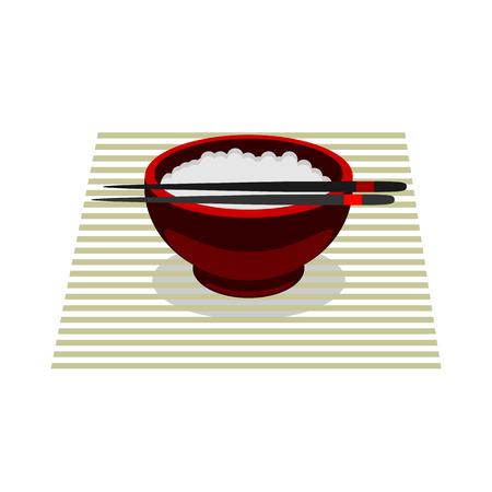 Chinees eten rijst kleur vector flat pictogram op een witte achtergrond