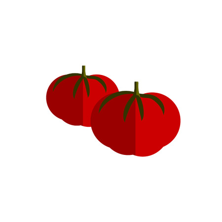 rich in vitamins: tomato color vector flat icon vegetable on white background