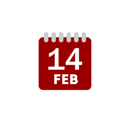 white matter: Color date calendar Valentines day flat vector icon on white background Illustration