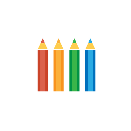 colored pencil: set of colored pencil flat vector icon on white background Illustration