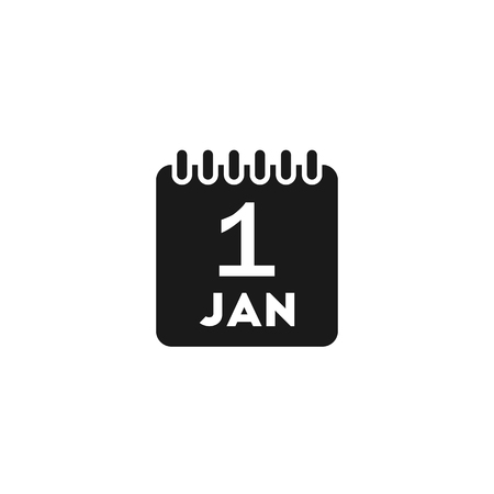 white matter: Black date calendar new year flat vector icon on white background