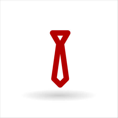 red tie: Red tie vector line icon on white background with shadow Illustration