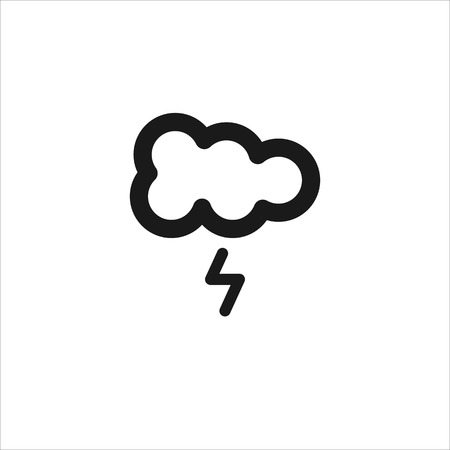 meteorologist: Black cloud with lightning vector line icon on white background