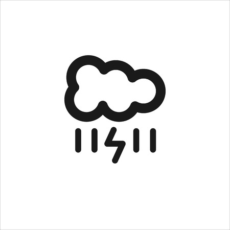 meteorologist: Black cloud with lightning and rain vector line icon on white background Illustration