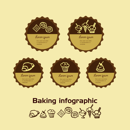 sweetness: sweetness and the baking color infographic in Doodle style on a light background