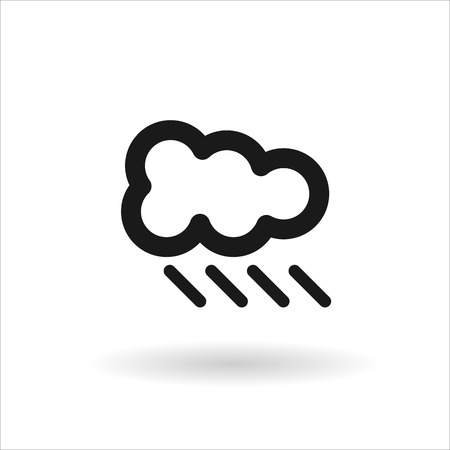 meteorologist: Black cloud with rain vector line icon on white background with shadow