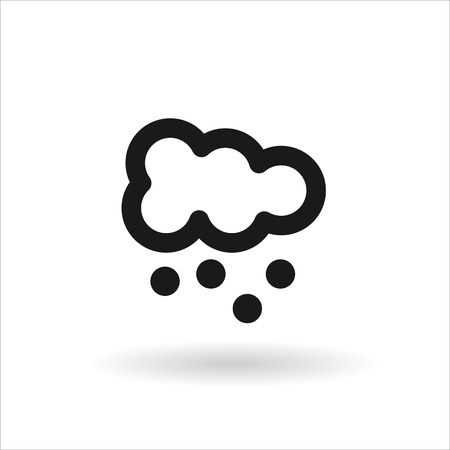 meteorologist: Black cloud with snow vector line icon on white background with shadow