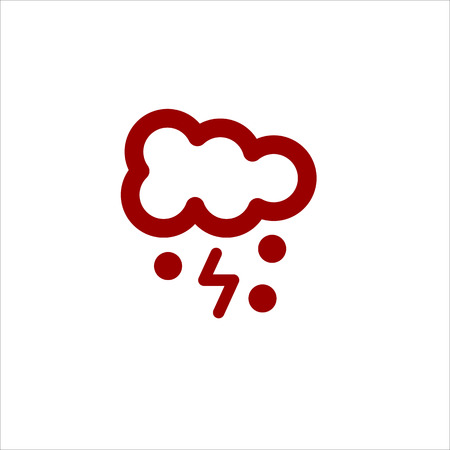 meteorologist: Color cloud lightning and snow vector line icon on white background Illustration