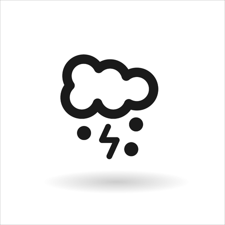 meteorologist: Black cloud lightning and snow vector line icon on white background with shadow