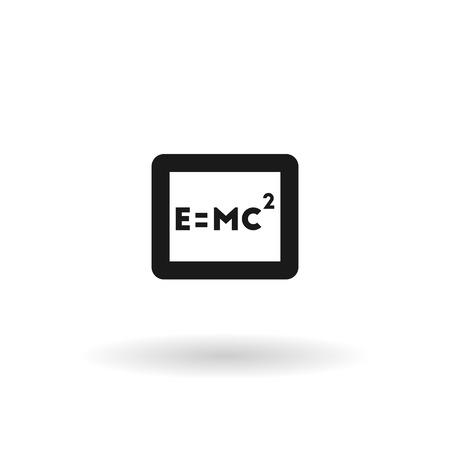 einstein: Black formula Einstein vector line icon on white background with shadow
