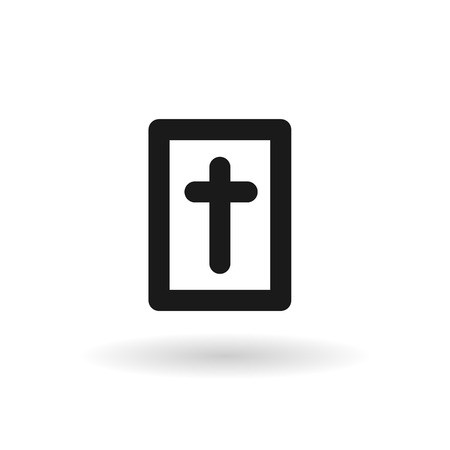 santa biblia: Black Holy Bible vector line icon on white background with shadow