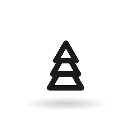 black pine: Black pine tree vector line icon on white background with shadow Illustration