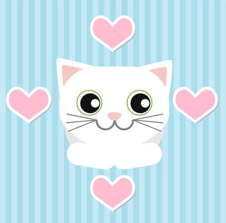 ojos verdes: Gato blanco que miente y mira para el d�a de San Valent�n en un fondo azul de rayas