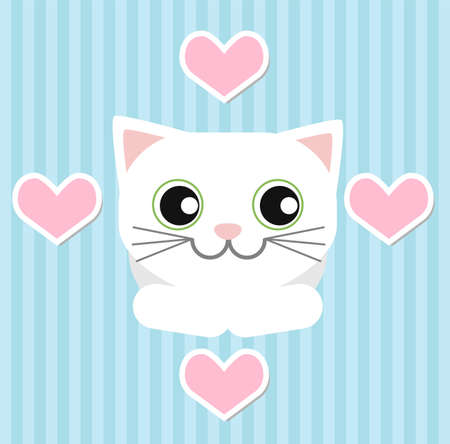 looks: White cat lying and looks for Valentine day on a blue striped background