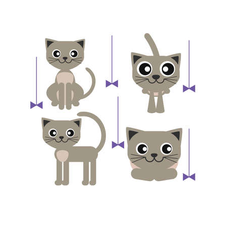 grey cat: grey cat sitting standing lying and playing colorful vector icons on white background