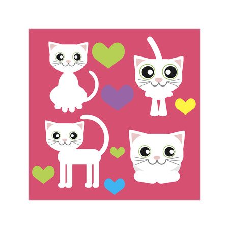 lies: white cat sits stands lies and love of colorful vector icons set on pink background Illustration