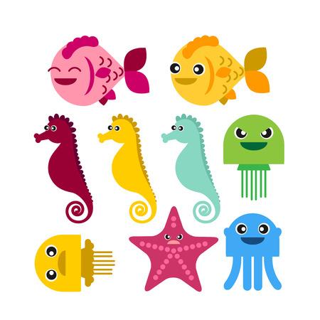seahorse: colorful seahorse fish jellyfish starfish set on white background vector icon