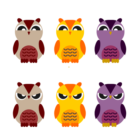 fender: colorful cute owls vector set of flat icon emotion and facial expressions Illustration