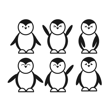 fender: black vector cute funny penguin set of flat icon emotion and facial expressions Illustration