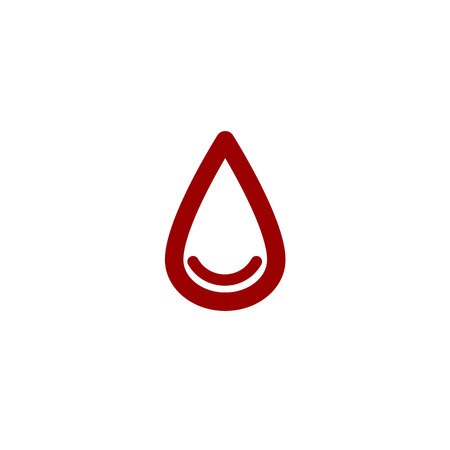 blood line: colored drop of blood line vector icon set on white background