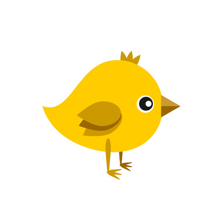 chick: little cute yellow chick vector color flat icon Illustration