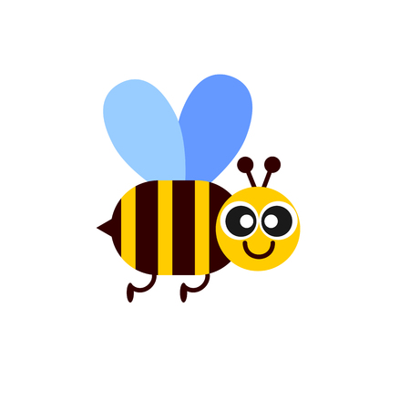 honey colored bee flying and smiling flat vector icon on white background