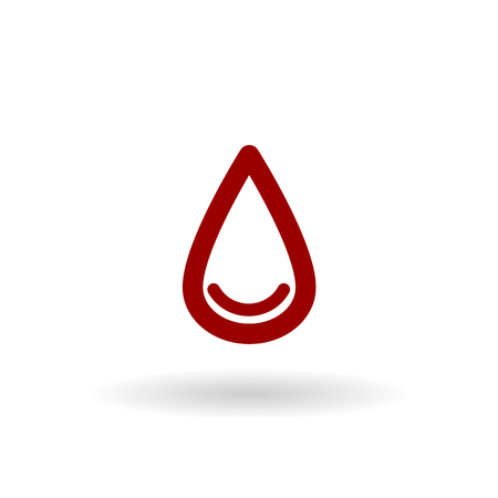 blood line: colored drop of blood line vector icon set on white background with shadow Illustration
