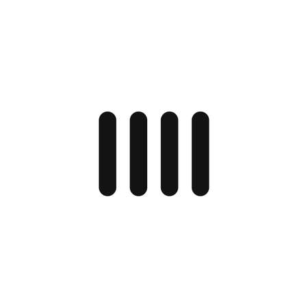 heating engineers: black battery heater line vector icon on white background