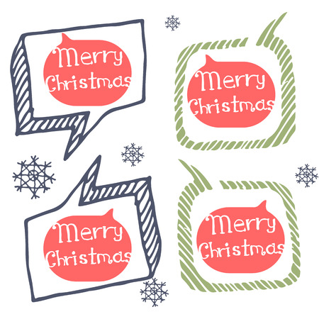Christmas logo icons and the words for Christmas in the style of Doodle. Set icon white and black. Logo