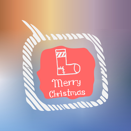 white socks: white socks icon in the style of Doodle on the theme of Christmas on a beautiful colored background