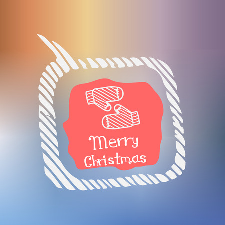 white glove: white glove icon in the style of Doodle on the theme of Christmas on a beautiful colored background
