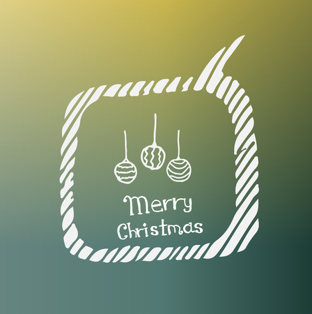 paillette: white Christmas ball icon in the style of Doodle on the theme of Christmas on a beautiful colored background Illustration