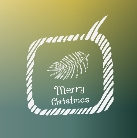pine branch: pine branch white icon Doodle on the theme of Christmas on a beautiful colored background