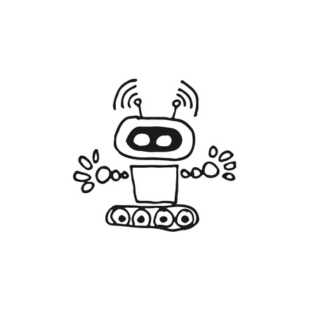 cyborg: Black Doodle robot cyborg line vector icon on light background