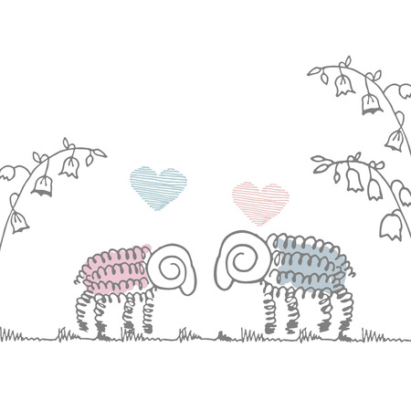 sheep love: love the cute sheep on a white background in the style of Doodle card Valentines