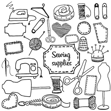 accessory: sewing accessory in the style of Doodle, vector icon on light background Illustration