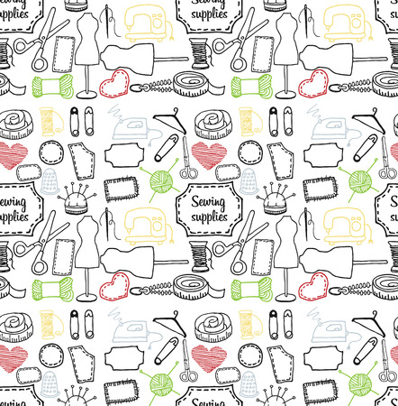 accessory: seamless pattern sewing accessory in the style of Doodle, vector icon on light background Illustration