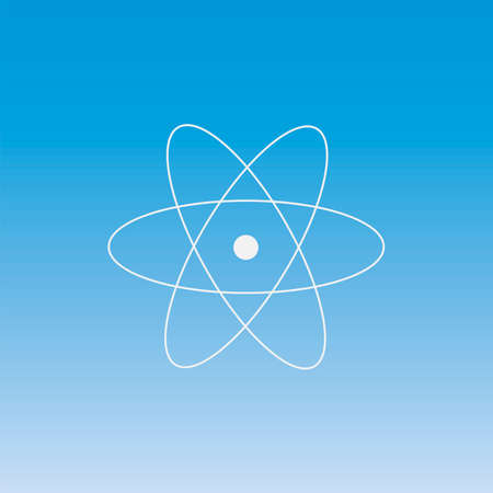 atomic nucleus: physics of atomic nucleus and orbital electron, thin icon set on colored background