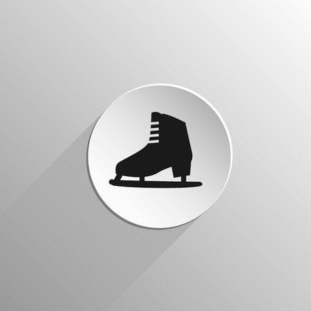 figure skating: ice skate for figure skating, black flat icon on a light background with long shadow