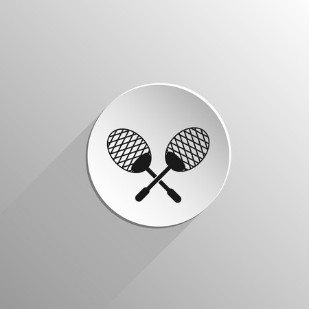 squash: sport squash tennis racket, black flat icon on a light background with long shadow