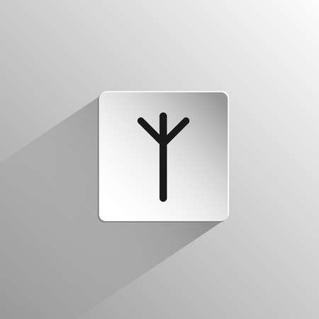 magic, black icon rune Algiz on a light background with long shadow 矢量图像
