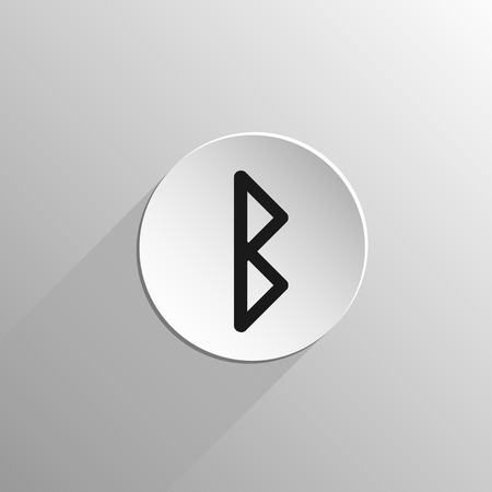 magic, black icon rune Berkana on a light background with long shadow 矢量图像