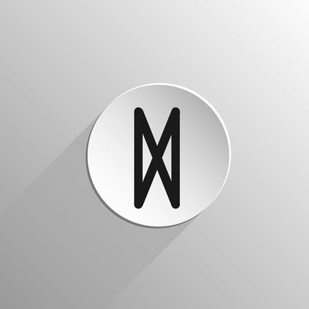 magic, zwart pictogram rune Dagaz op een lichte achtergrond met lange schaduw
