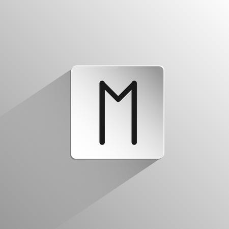 magic, zwart pictogram rune Ehwaz op een lichte achtergrond met lange schaduw Stock Illustratie