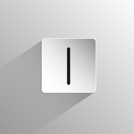 magic, black icon rune Isa on a light background with long shadow
